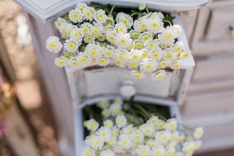 Cómoda blanca antigua flores