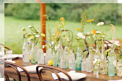 Decoración con frascos de cristal