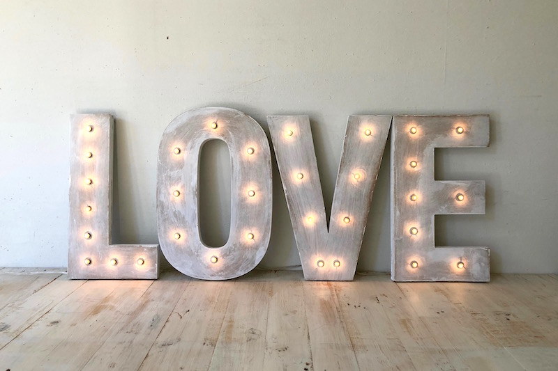Letras con luces love