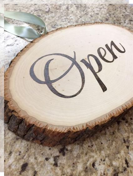 Carteles de bienvenida madera tronco