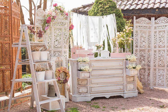 Rincón de bienvenida para boda