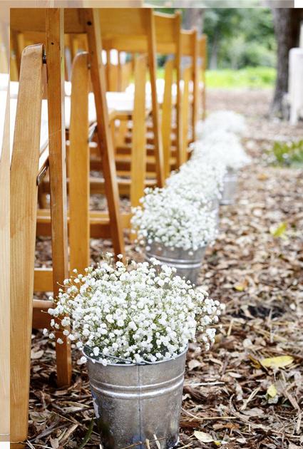 Pasillo nupcial con flores
