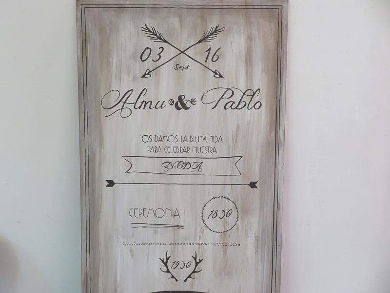 Cartel bienvenida tabla