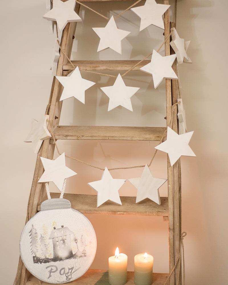 Guirnalda de estrellas de madera